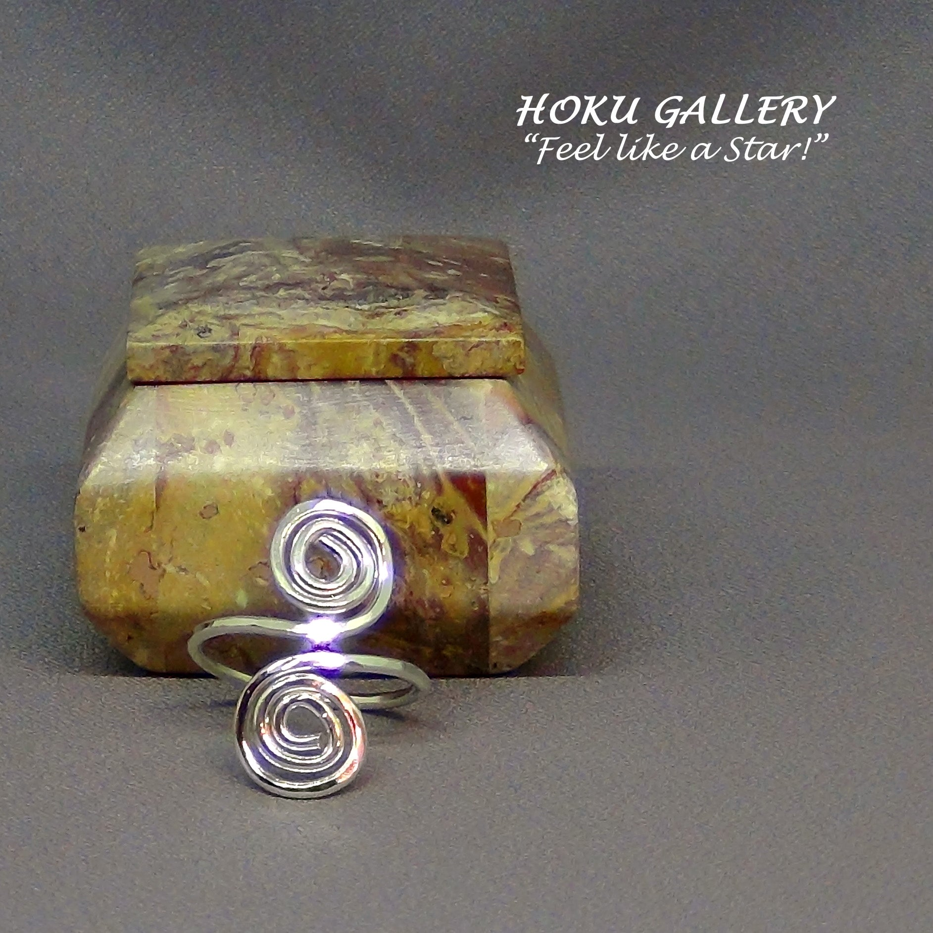 Wire wrapped, Adjustable, Double Swirl Ring by Hoku Gallery