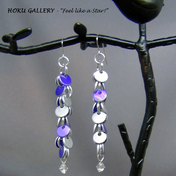 Chainmaille / Shaggy Disc Earrings - Hoku Gallery