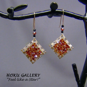 Filigree Earrings  - Raw Brass Square Moroccan Tile,- Hoku Gallery