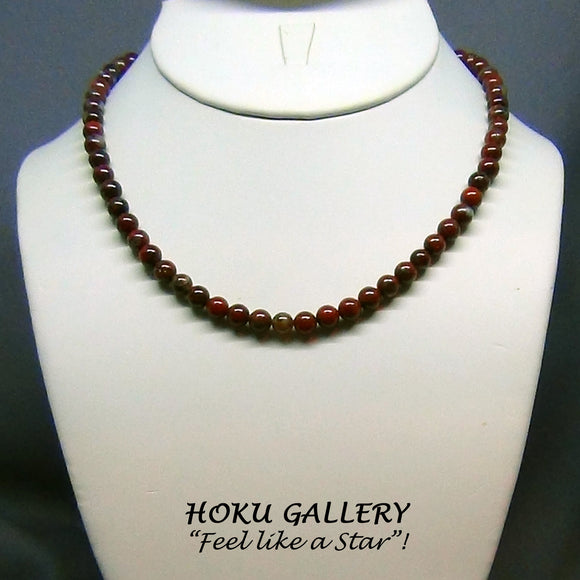 Vintage Natural Poppy Jasper Gemstone Necklace - Hoku Gallery