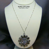 Antique Silver Filigree, 45mm Round, w/Crystal CAL Rocks HF Necklace  - Hoku Gallery