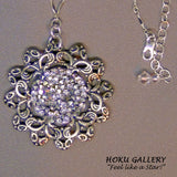 Antique Silver Filigree, 45mm Round, w/Crystal CAL Rocks HF Necklace  - Hoku Gallery - Hoku Gallery