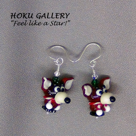 Lampwork Glass Reindeer Earrings - Hoku Gallery - Hoku Gallery