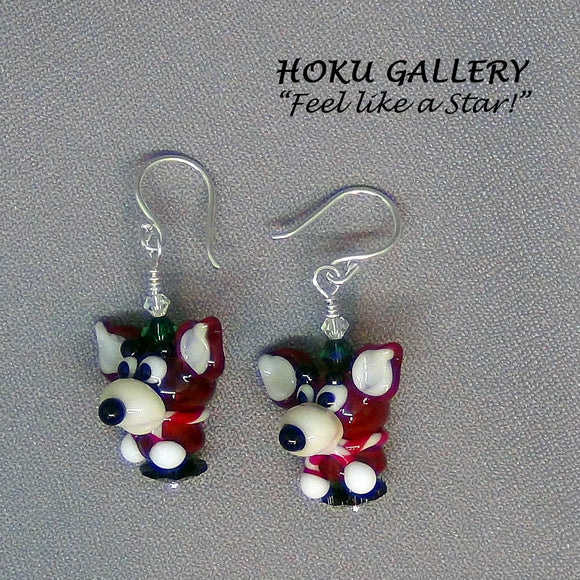 Lampwork Glass Reindeer Earrings - Hoku Gallery