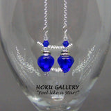 Lampwork Glass Vintage Christmas Tree Bulbs, Blue Earrings - Hoku Gallery - Hoku Gallery