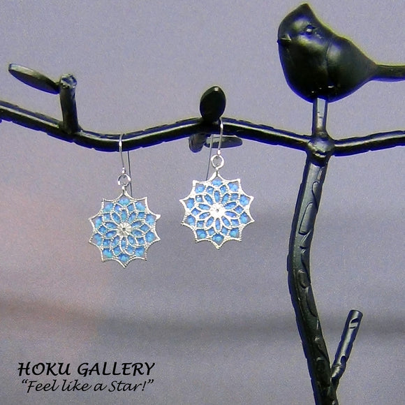 Up cycled Filigree Earrings w/ Swarovski Crystal Fine Rocks  - Stainless Steel Earwires- Hoku Gallery