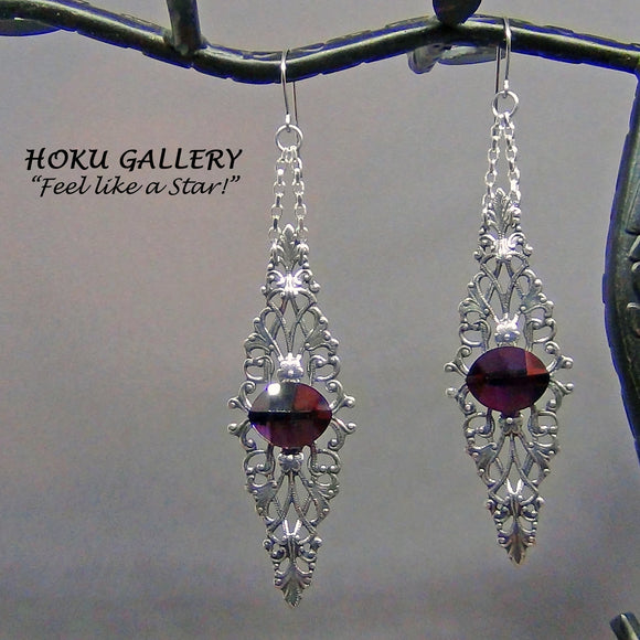 Filigree Earrings  - Antique Silver Plated, Swarovski Amethyst - Hoku Gallery - Hoku Gallery