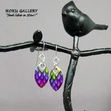 Dragon Scale Earrings  - Rainbow Pride Earrings/Small Scale - Hand Crafted Artisan Jewelry - Hoku Gallery