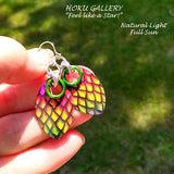 Dragon Scale Earrings  - Rainbow Pride Earrings/Medium Scale - Hand Crafted Artisan Jewelry - Hoku Gallery