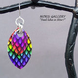 Dragon Scale Earrings  - Rainbow Pride Earrings/Large Scale - Hand Crafted Artisan Jewelry - Hoku Gallery