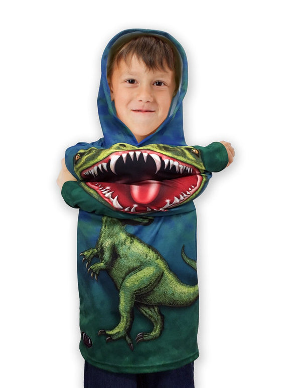 Children's ROCKIN' RAPTOR DINO Hoodie Sport Shirt by MOUTHMAN - Hoku Gallery