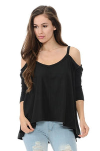 """Diamante"" Women's Cold Shoulder Top - Style D183 - Hoku Gallery"