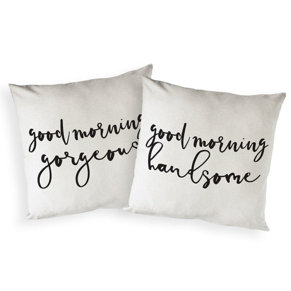 Good Morning Gorgeous, and Handsome, Pillow Covers, 2-Pack