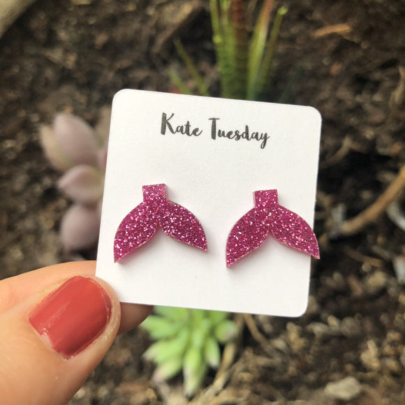 Mermaid Tail Acrylic Post Earrings - Sparkly Magenta - Hoku Gallery