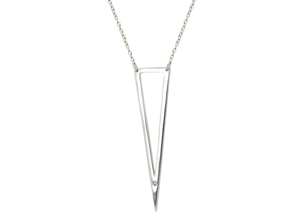 Open Triangle Cz Pendant Necklace in Sterling - Hoku Gallery