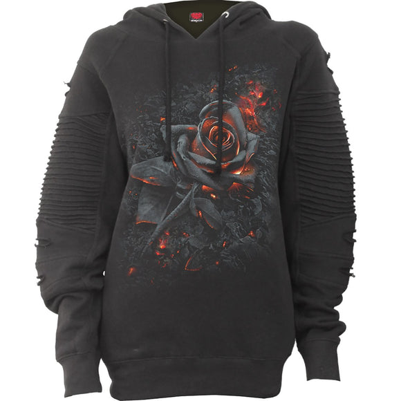 Women's BURNT ROSE - Premium Biker Fashion Hoodie - Hoku Gallery