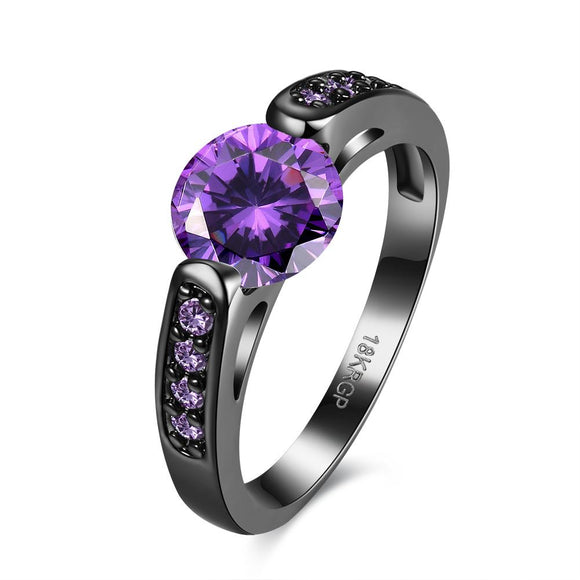 Purple Sleek Swarovski Black Rhodium Ring