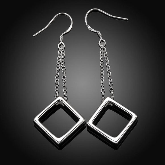 Square Drop Earring in 18K White Gold Plating
