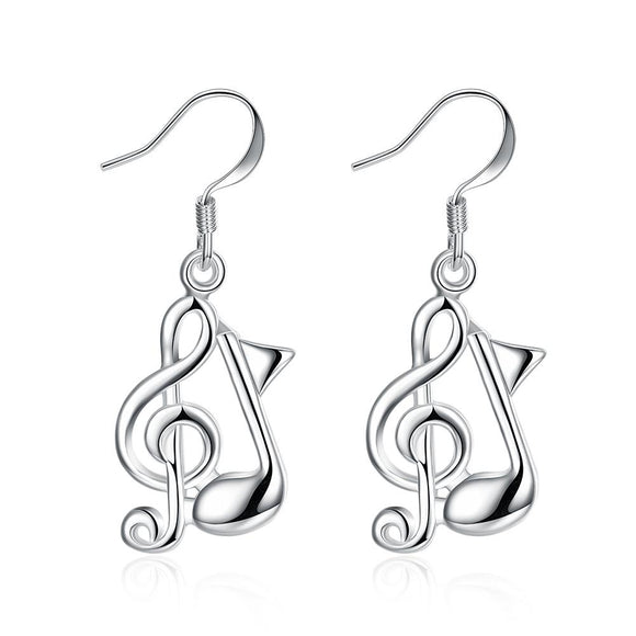 Musical Notes, Drop Earring in 18K White Gold Plated