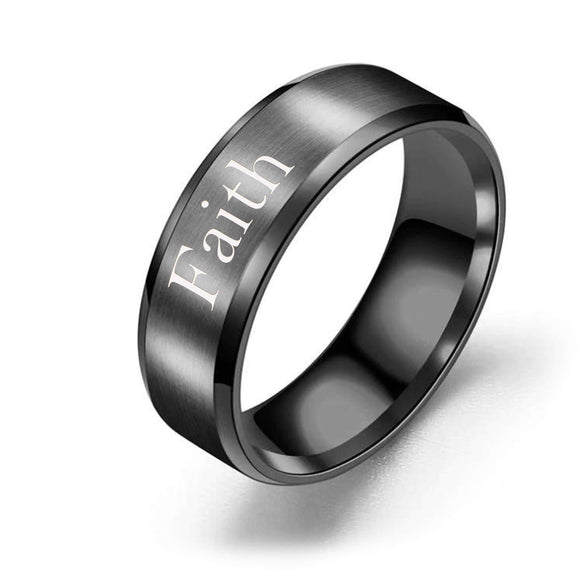 Men's / Unisex 8mm Solid Stainless Steel Comfort Fit Ring in Black - Faith