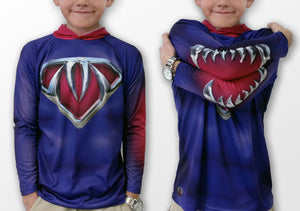 Children's & Adult SUPERHERO Hoodie Sport Shirt by MOUTHMAN® - Hoku Gallery