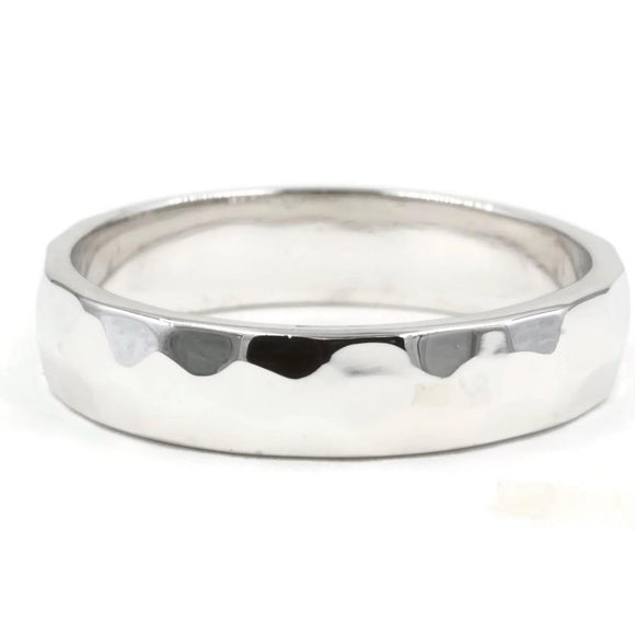 Hammered Sterling Silver 4mm Band Ring - Hoku Gallery