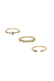 Delicate Shine, 18k Gold Plated, Three Piece Ring Set - Hoku Gallery