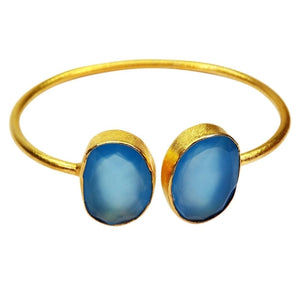 Chalcedony Bangle Bracelet -Ahana - Hoku Gallery