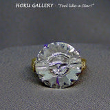 Wire wrapped / Clear Crystal Swarovski Crystal Button Ring - Hoku Gallery