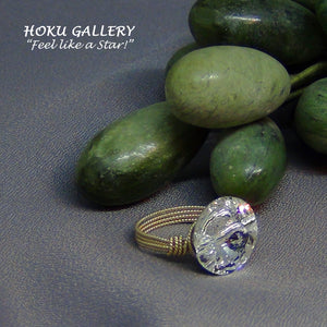 Side View Swarovski Crystal Wire wrapped Ring by Hoku Gallery