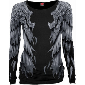 SERAPHIM - Loose Fit, Black Top with Angel Wings - Hoku Gallery