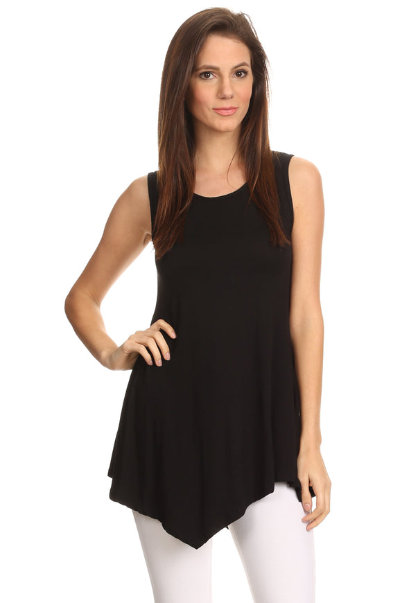 Women's Sleeveless Handkerchief Hem Tunic - Hoku Gallery