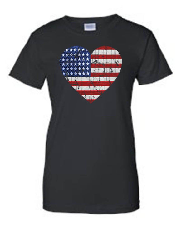 Unisex Juniors USA Flag Heart American Love T-shirt - Hoku Gallery