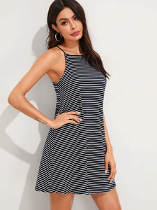 Striped Flowy Slip Dress / Tunic - Hoku Gallery
