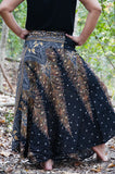Black Peacock Feather Boho Skirt