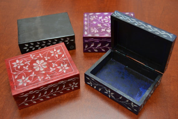 4 Pcs Handmade Carved Flower Soapstone Boxes