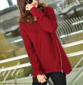 Women's Comfy, Casual Sweater, with High Side Zipper