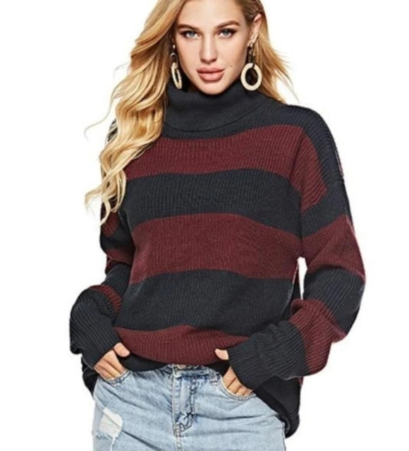 Women's Loose Fit, Turtle Neck, Striped Sweater