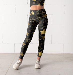 Women's High Waist & Mid Waist Black Gold Star Leggings, Capris and Shorts - Hoku Gallery