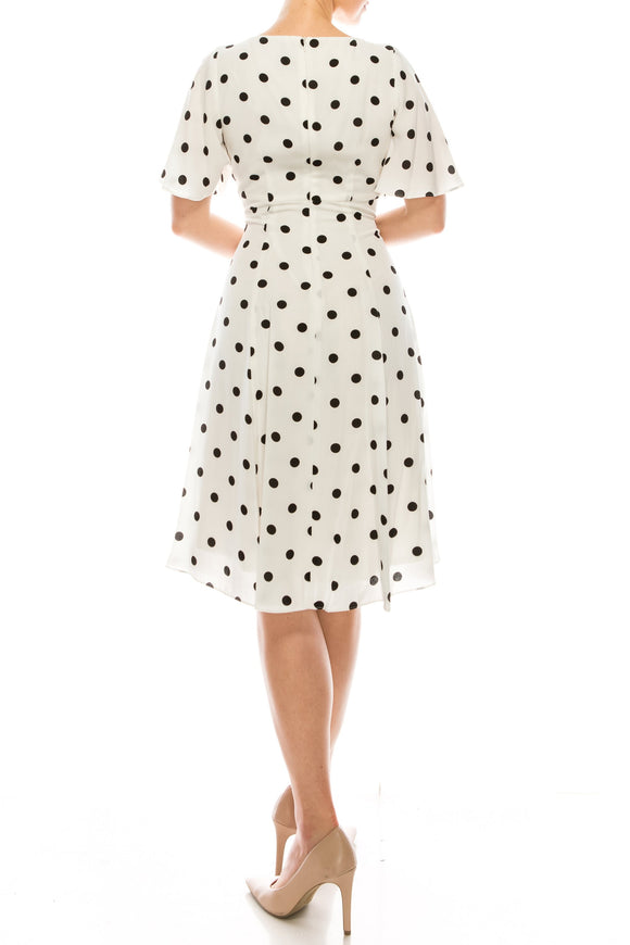 Ivory, Black Polka Dotted, Empire Waist Dress