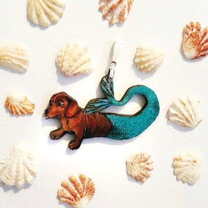 Dachshund Mermaid Pendant Necklace