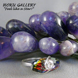 Wirewrapped Ring  - 23mm Crystal Duffelcoat Button, Sterling Silver Wire - Size 6.5 - Hoku Gallery
