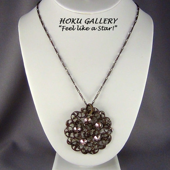 Filigree Necklace  - Natural Brass, 6mm Swarovski Rose Gold - Hoku Gallery