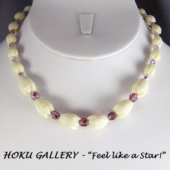 Children's Necklace  - Vintage Hawaiian Pikaki Resin Beads - Hoku Gallery