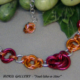 Chainmaille Mobius Choker - Anodized Aluminum Rings, Fire Mix