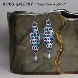 Chainmaille Earrings - Enameled Copper Rings - Hoku Gallery