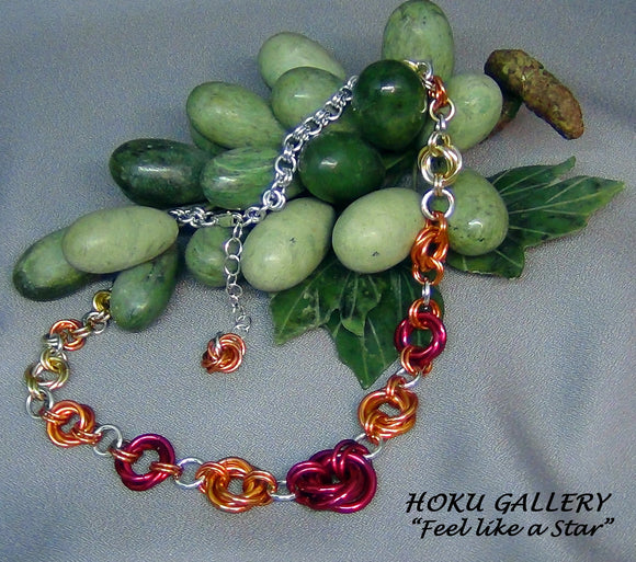 Chainmaille Mobius Choker - Anodized Aluminum Rings, Fire Mix - Hoku Gallery