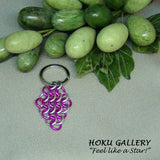 Chainmaille Keychain, Pink and Shiny Aluminum Rings - Hoku Gallery