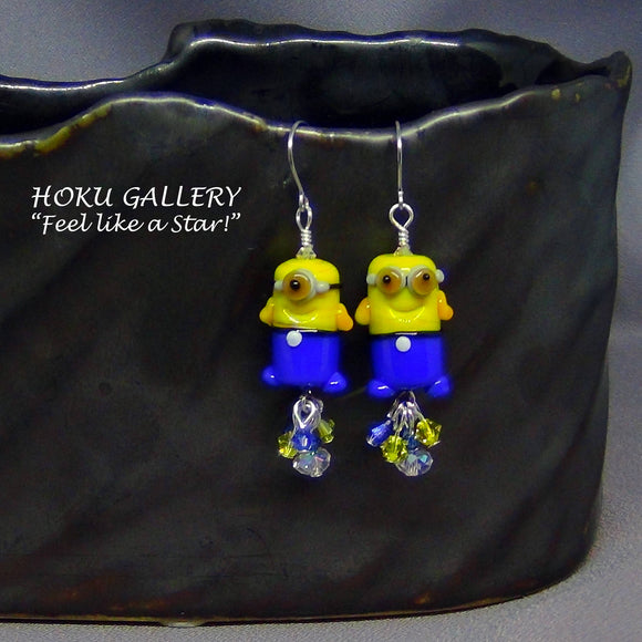 Hand Crafted Lampwork Glass Minion Earrings - Hoku Gallery