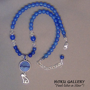Vintage Natural Blue Onyx Gemstone Necklace - Hoku Gallery